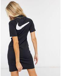 Nike Vestito accollato con logo e maniche a kimono nero