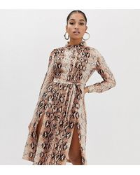 Missguided Shirt Dress With Side Splits In Snake - Brown