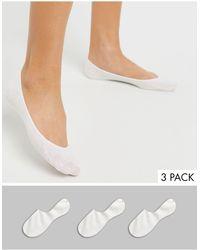 Monki 3 Pack Invisible Footsie Socks - White