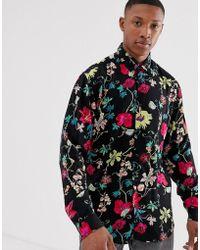 Jack & Jones Premium Long Sleeve Floral Print Shirt - Yellow