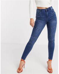 Vero Moda Biker Panelled Skinny Jeans - Blue