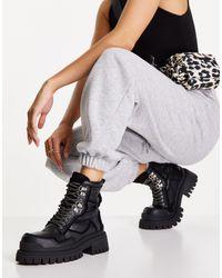 TOPSHOP Черные Кожаные Ботинки На Массивной Подошве Со Шнуровкой Alex-черный Цвет