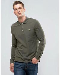 Lyle & Scott - Long Sleeve Logo Polo Shirt Khaki - Lyst