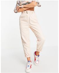 TOPSHOP Casual Peg Trouser With Paperbag Waist - Pink