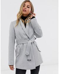 Lipsy Smart Wrap Coat In Silver Grey - Metallic