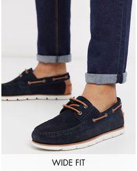 ASOS Wide Fit Boat Shoes - Blue