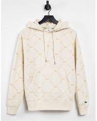 Lacoste Кремовый Худи С Логотипом-монограммой От Комплекта -белый - Многоцветный