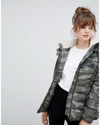 New Look - Fitted Padded Parka Camo Jacket - Lyst