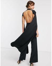 True Violet Cape Detail Jumpsuit With Open Back - Black