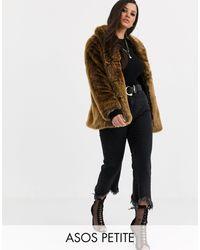 ASOS Asos Design Petite Stand Collar Faux Fur Coat - Multicolour