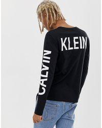 Calvin Klein Черный Лонгслив С Логотипом На Спине Institutional