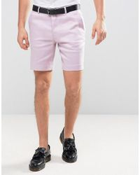 ASOS | Slim Smart Short In Light Purple Linen Mix | Lyst