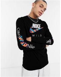 Nike Черный Лонгслив С Графическим Принтом Wild-черный Цвет