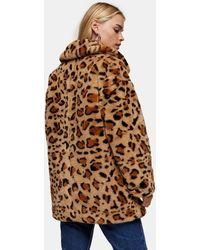 Topshop Unique Куртка Из Искусственного Меха С Леопардовым Принтом -многоцветный - Коричневый