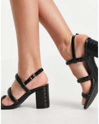 New Look Multi Strap Heeled Mule - Black