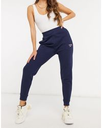 Reebok Classic Logo French Terry Cuffed Trackies - Blue