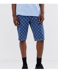 ASOS Tall Slim Denim Shorts In Mid Wash Blue Check Board Print