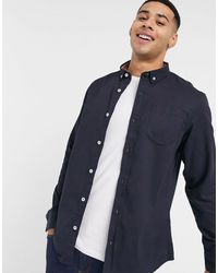 Brave Soul Long Sleeve Twill Shirt - Blue
