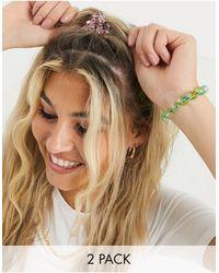 ASOS Set Van 2 Haarbanden Van Roze En Groene Plastic Kralen - Meerkleurig