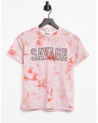 """Adolescent Clothing T-shirt da casa color tie-dye con scritta """"savage"""" - Arancione"""
