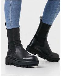 AllSaints Черные Кожаные Массивные Ботинки Челси Billie Tall-черный Цвет