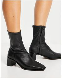 & Other Stories Leather Square Toe Heeled Boots - Black