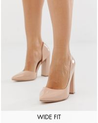 ASOS Wide Fit Walter D'orsay High Heels In Almond - Multicolour