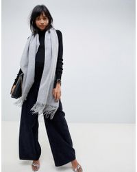 ASOS Oversized Wool Scarf With Tassels - Gray