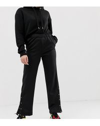 Noisy May Petite - Wide Leg Track Pant With Concealed Popper Detail - Lyst