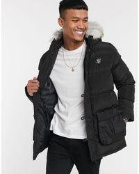 SIKSILK Puffer Parka Jacket With Faux Fur Hood - Black