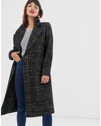 Esprit Formal Longline Check Coat - Brown