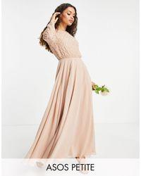ASOS Asos Design Petite Bridesmaid Maxi Dress With Long Sleeve - Pink