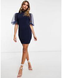 AX Paris Vestido corto azul marino con manga