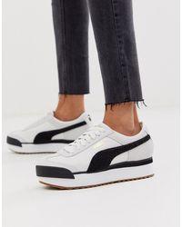 PUMA Roma Heritage - Sneakers Met Plateauzool In Wit Met Zwart - Wit