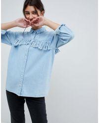 ASOS - Design Denim Fringed Shirt In Midwash Blue - Lyst