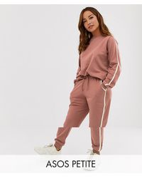 ASOS Asos Design Petite Tracksuit Cute Sweat / Basic jogger With Tie With Contrast Binding - Multicolour