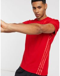 adidas Футболка С 3 Полосками Areoready-красный