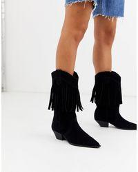 ASOS Clifton Western Fringe Knee Boots - Black