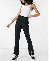 Pieces Split Front Trousers - Black