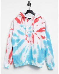 Criminal Damage Felpa oversize tie-dye con cappuccio - Blu