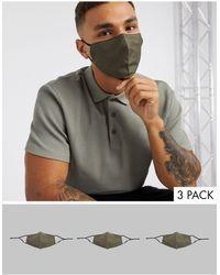 ASOS Confezione da 3 mascherine con laccetti regolabili e clip sul naso kaki - Verde