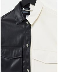 Bershka Монохромная Рубашка Из Искусственной Кожи В Стиле Колор Блок С Короткими Рукавами И Разрезом От Комплекта -многоцветный