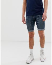 Hollister Super Skinny Destroyed Denim Shorts - Blue