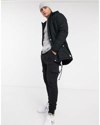 Only & Sons Parka With Fleece Lined Hood - Black