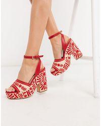 ALDO Quintinia Embroidered Platform Sandals