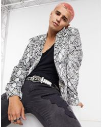 ASOS Velvet Skinny Blazer With Snake Print-black