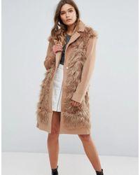 Glamorous Shaggy Faux Fur Coat - Brown