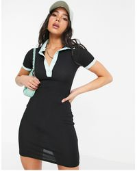 Another Reason Ribbed Mini Polo Dress With Contrast Collar - Black