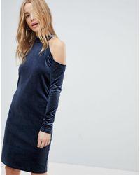 Pieces Cold Shoulder Glitter Velvet Mini Dress - Blue