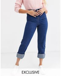 Urban Bliss Relaxed Straight Leg Jeans With Deep Turn-up-blue
